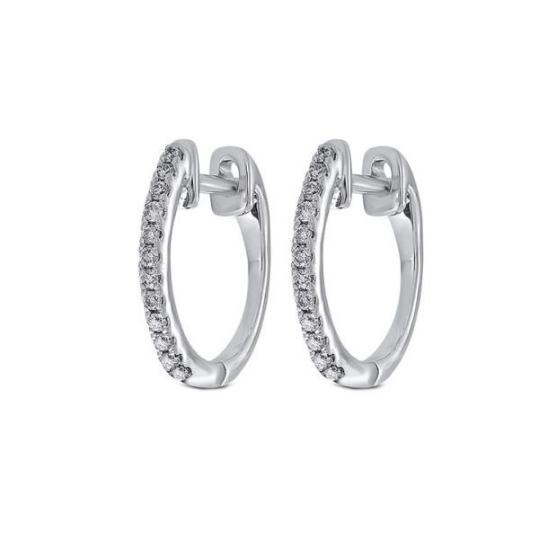 10 kt Dainty White Gold Diamond Hoop Earrings