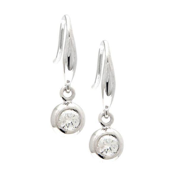 14K White Gold Diamond Bezel Drop Earrings