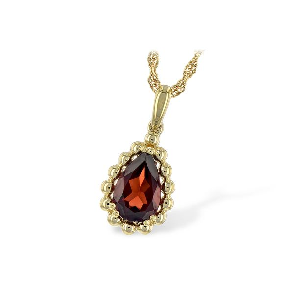 14 kt Yellow Gold Garnet Necklace