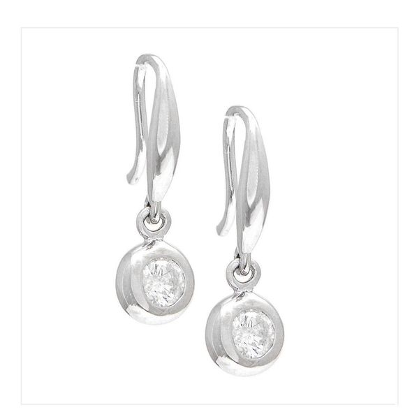 14 kt white gold diamond bezel dangle earrings