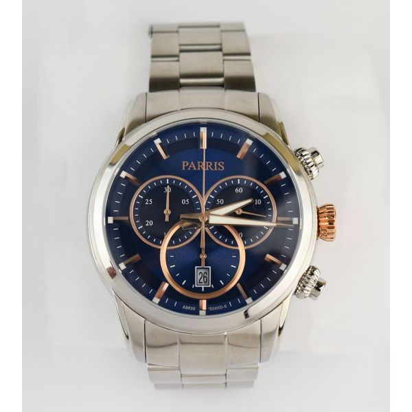 Two tone (rose and white)Parris watch with blue dial
