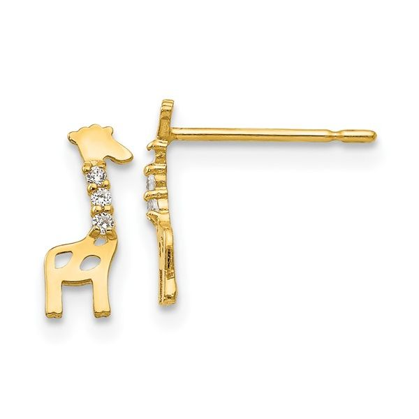 14 kt Yellow Gold Giraffe Earrings with CZ Accents