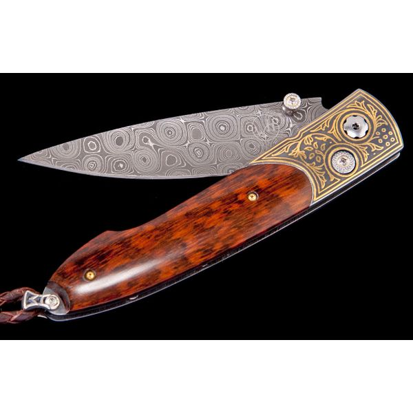 Willim Henry pocket knife with wooden handle and yellow gold inlay in handle