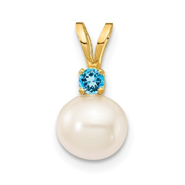 14K Yellow Gold Pearl Drop Pendant