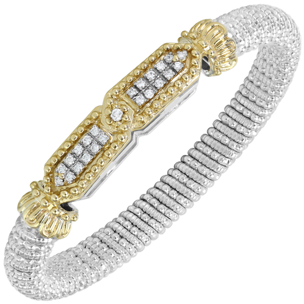 Sterling silver & 14 kt yellow gold bracelet with  diamonds by Vahan