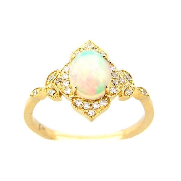 14 kt Yellow Gold Opal and Diamond Ring
