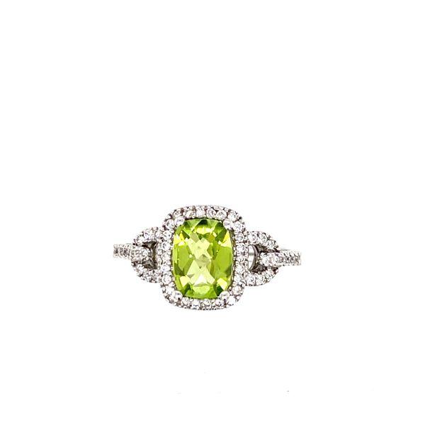 14 kt White Gold Peridot and Diamond Ring