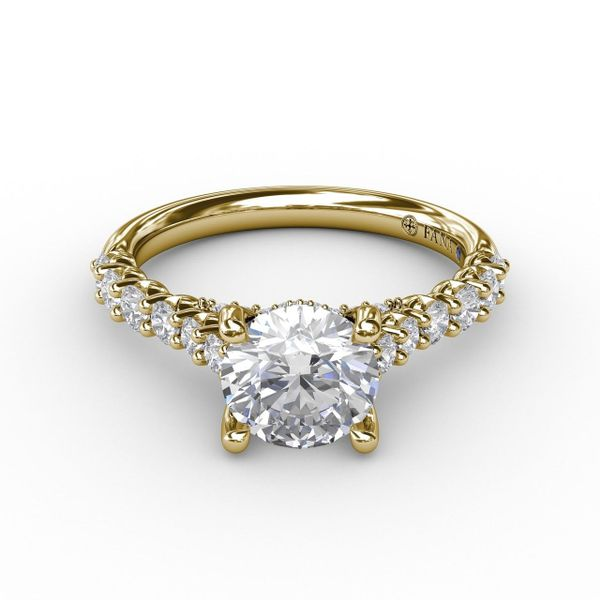 Yellow Gold Contemporary Diamond Solitaire Engagement Ring With Hidden Halo