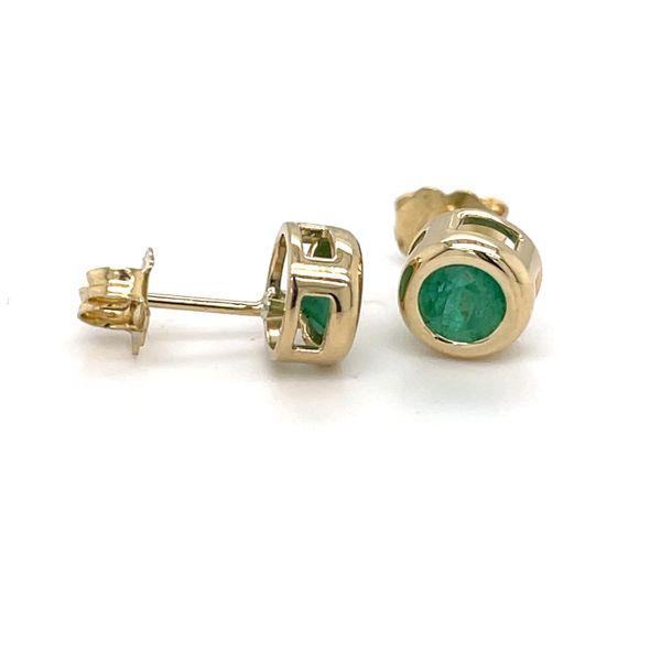 14 kt Yellow Gold Bezel Set Emerald Earrings