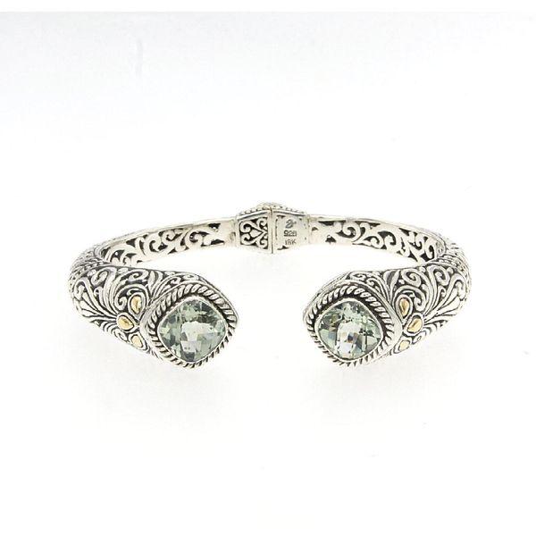 Sterling Silver & 18 kt Yellow Gold Green Amethyst Bracelet