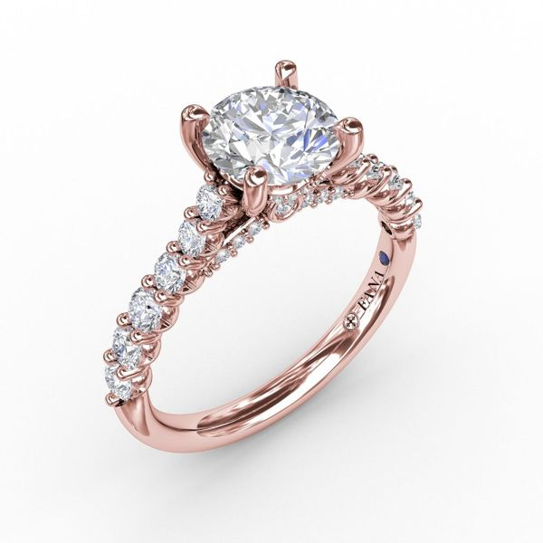 Rose Gold Contemporary Diamond Solitaire Engagement Ring With Hidden Halo