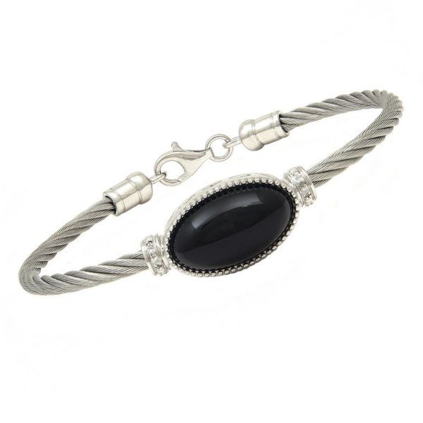 Black Onyx Stone on Stainless Steel Cable Bracelet