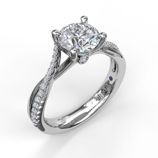 White Gold Alternating Diamond Twist Engagement Ring