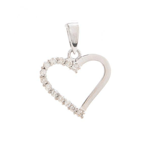 White Gold Heart Round Micro Pave Diamond Pendant