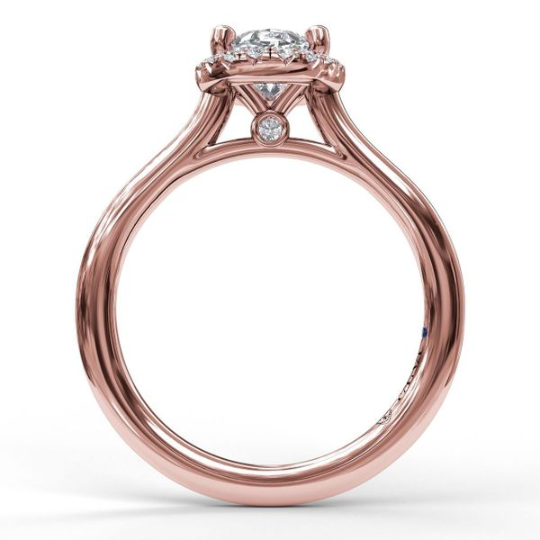 Rose Gold Oval Cut Halo Engagement Ring
