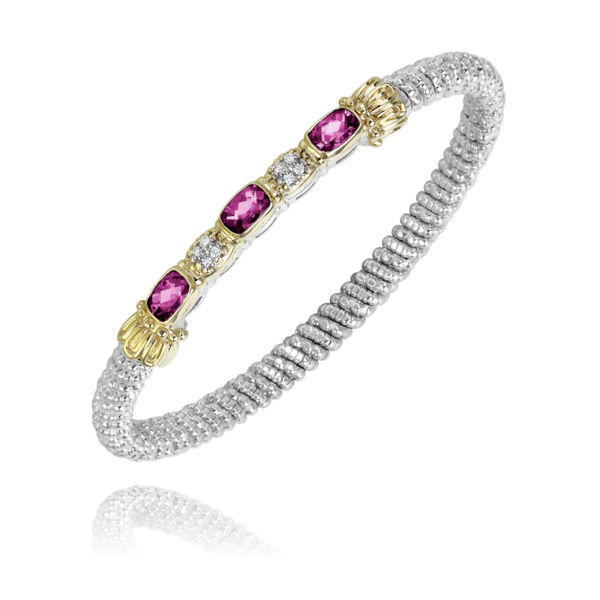 Sterling Silver and 14 kt yellow gold 4 mm bracelet with colored stones & diamonds  by Vahan