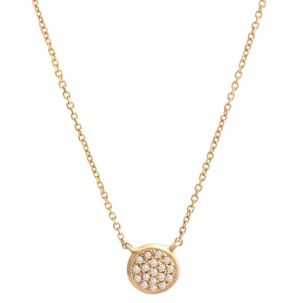 14 kt yellow Gold Circle Single Pave Diamond Necklace