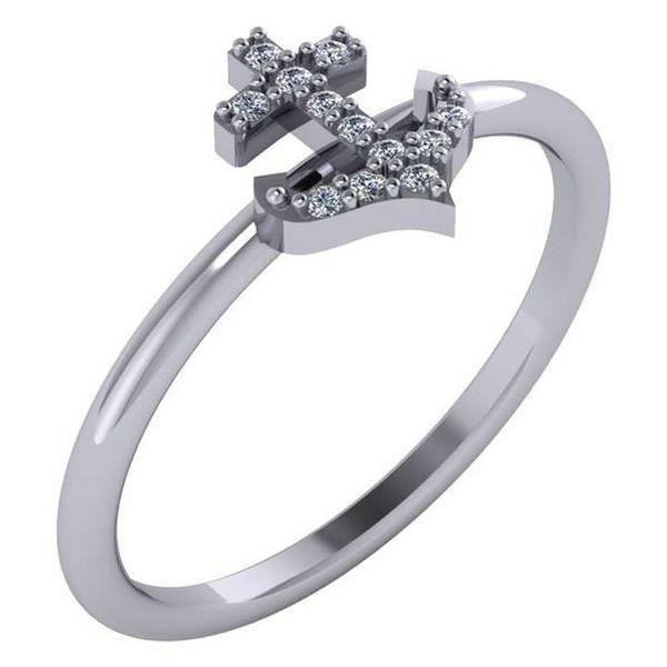 14 kt White Gold Diamond Anchor Ring