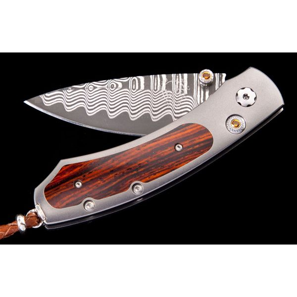 Willim Henry pocket knife with wood inlay in handle