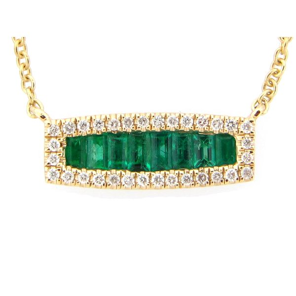 14 kt Yellow Gold Baguette Emerald and Round Diamond Bar Necklace