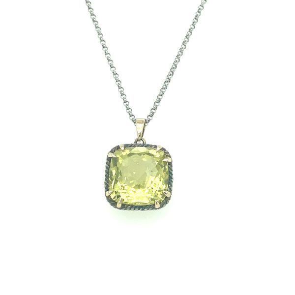 Sterling Silver and 14 kt Yellow Gold Lemon Quartz Necklace