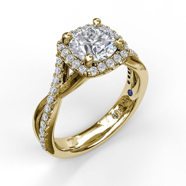 14 kt Yellow Gold Halo Twist Band Engagement Ring
