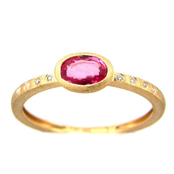 14 kt Satin Yellow Gold Pink Sapphire and Diamond
