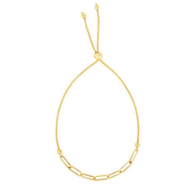 14 kt Yellow Gold Paperclip Bolo Bracelet Bracelet