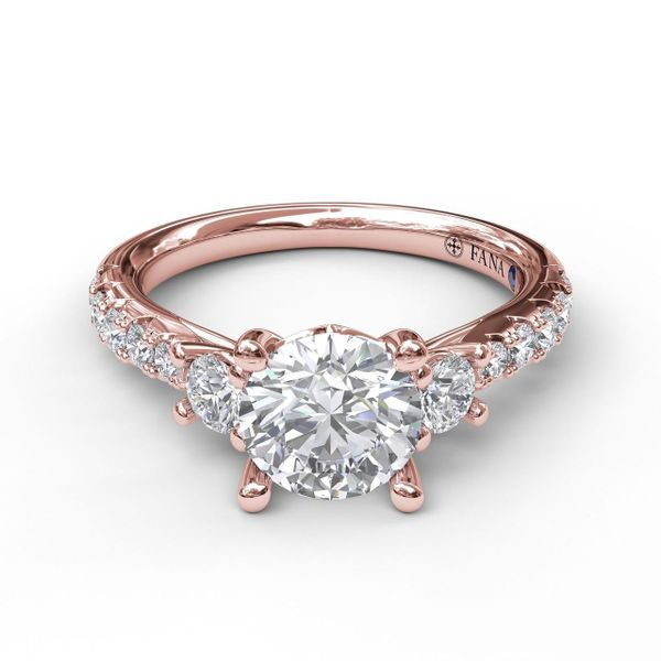 Rose Gold Three Stone With Pave Engagement Ring