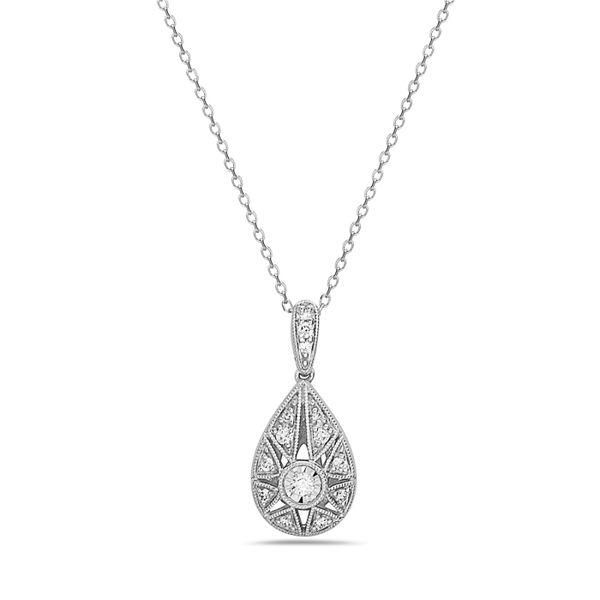14 kt White Gold Vintage Inspired Diamond Necklace