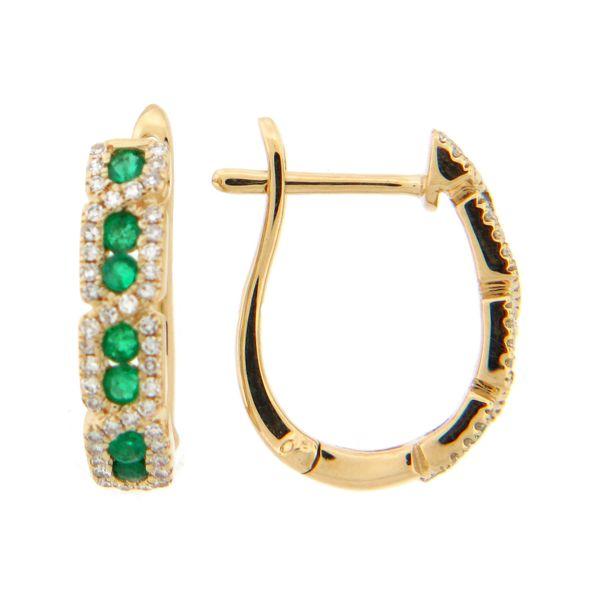 14 kt Yellow Gold Emerald and Diamond Hoop Earrings