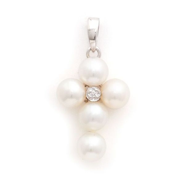White Gold Cross Pearl Necklace, pearl pendant