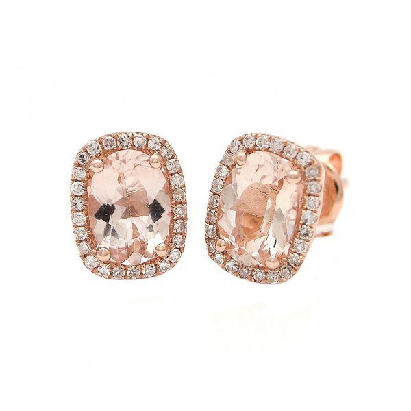 14 kt rose gold Morganite and diamond earrings