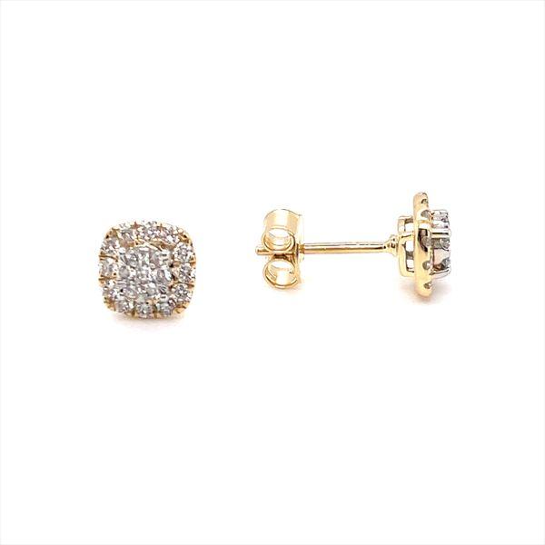 14 kt Yellow Gold Diamond Stud Earrings