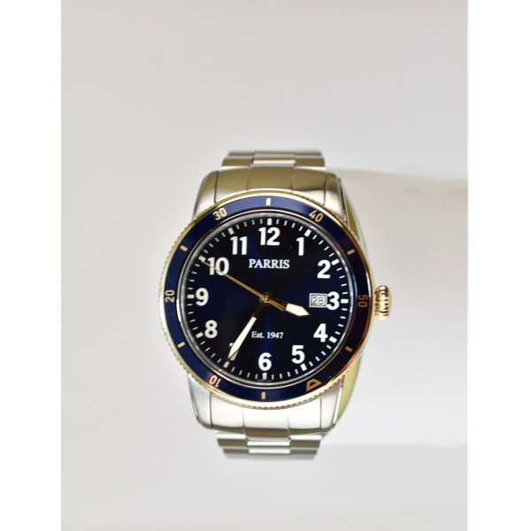 Gents watch, blue dial with stainless bracelet strap, 40 mm case