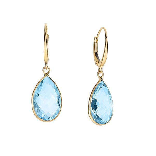 14K Gold Blue Topaz Pear Drop Earrings Parris Jewelers Hattiesburg, MS