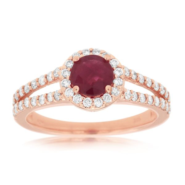 14 kt Rose Gold Ruby and Diamond  Ring