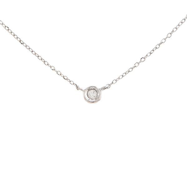 14 kt white gold bezel diamond necklace