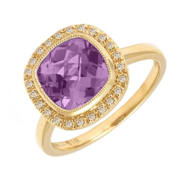 14 kt Yellow Gold Amethyst and Diamond Ring