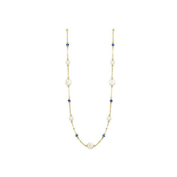 10 kt Yellow Gold Sapphire, Mother of Pearl and Pearl Necklace
