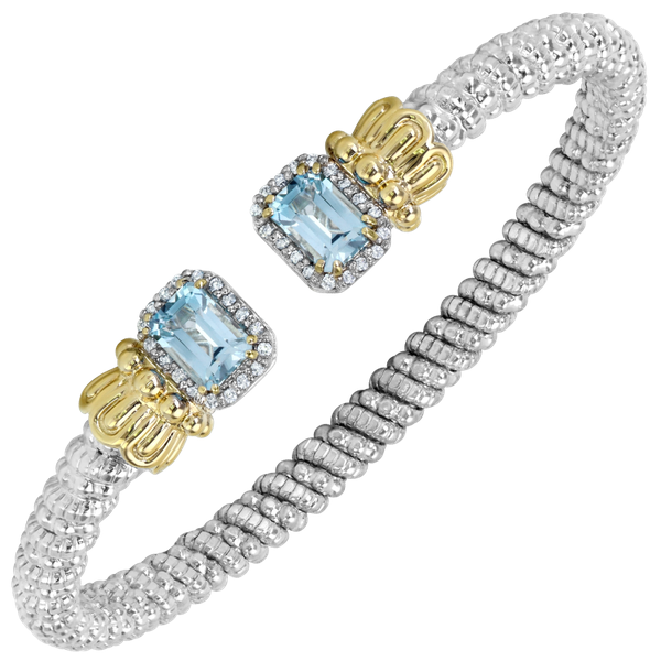 Sterling Silver and 14 kt Yellow Gold Bracelet by Vahan with Light Blue Topaz