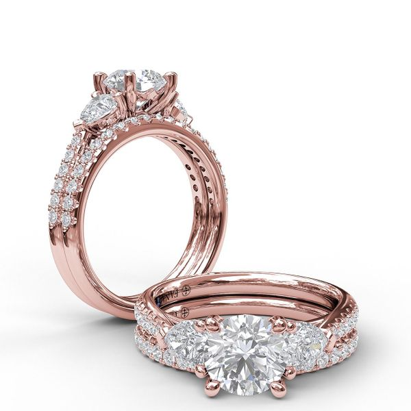 14 kt Rose Gold 3-Stone Engagement Ring