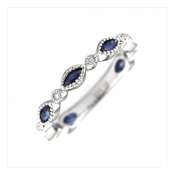 White Gold Marquise Bezel Sapphire Ring