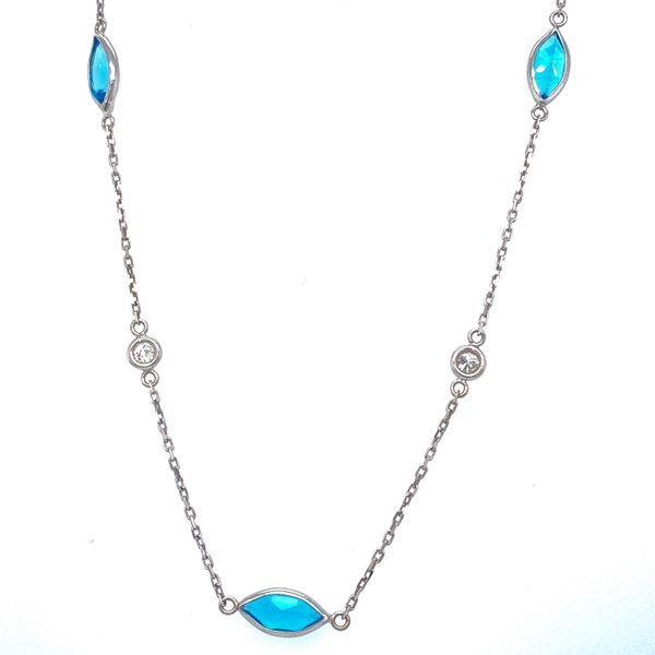 14K White Gold Blue Topaz Station Necklace