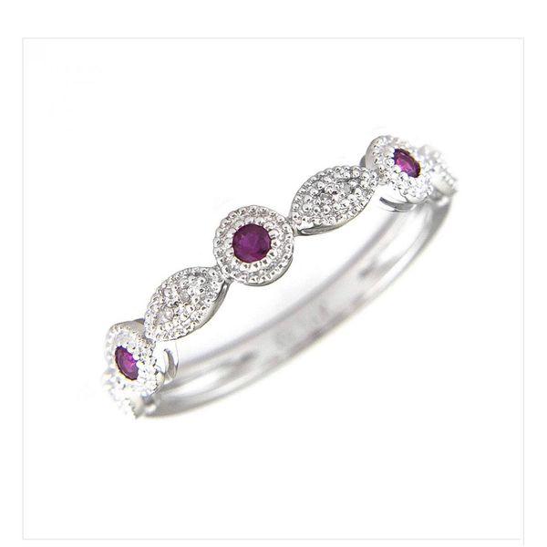 White Gold Round Bezel Ruby Ring