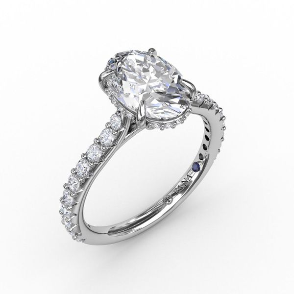 White  Gold Classic Oval Diamond Engagement Ring With Hidden Pavé Halo