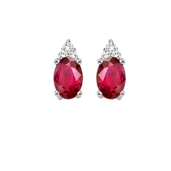 10 kt White Gold Ruby and Diamond Earrings  Parris Jewelers Hattiesburg, MS