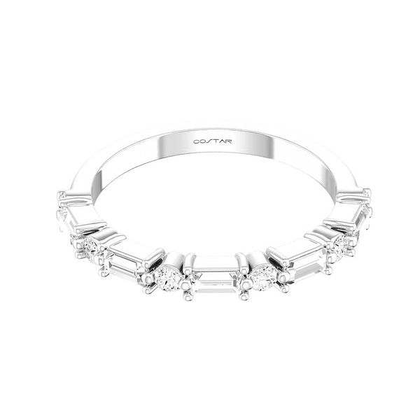 14 kt White Gold Round and Baguette Diamond Band
