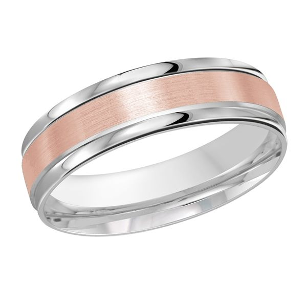Two tone gold 6mm wide wedding band