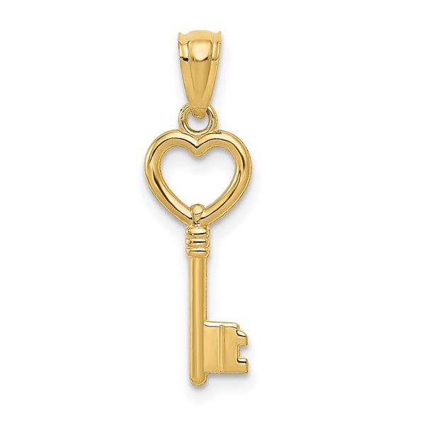 14 kt Yellow Gold Heart-Key Necklace